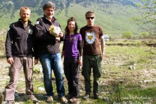 The HOS team who trapped and tagged the vulture Aoos in Western Greece.