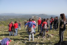 Tychero students observe the nesting site of Egyptian vulture in Dadia Forest