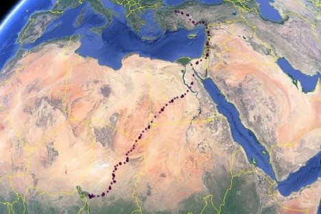 The migration route of Aoos