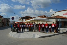 The Environmental Group of Soufli Highschool carries the message at the town's main square