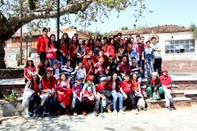 The center of Lefkimi village full of students