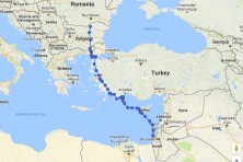 Migration map of captive-bred Egyptian vulture Regina originating from Turkish population and released in Bulgaria in August 2016.