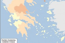 Sensitivity map for recorded poisoning incidents per region in Greece (2012-2015)