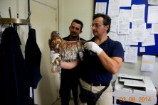 Representative of Soufli Forest Service who is also member of Life steering committee holds the raptor in customs.