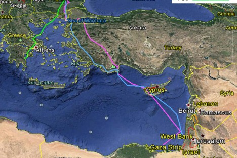 Migration map of captive-bred Egyptian vultures released in Bulgaria in August 2016.
