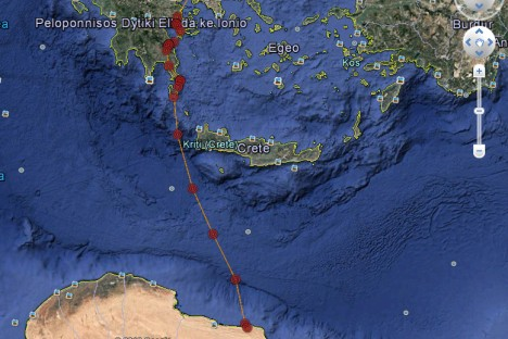 Elodie flew 480 km over the sea for 12 hours between Greece and Libya!